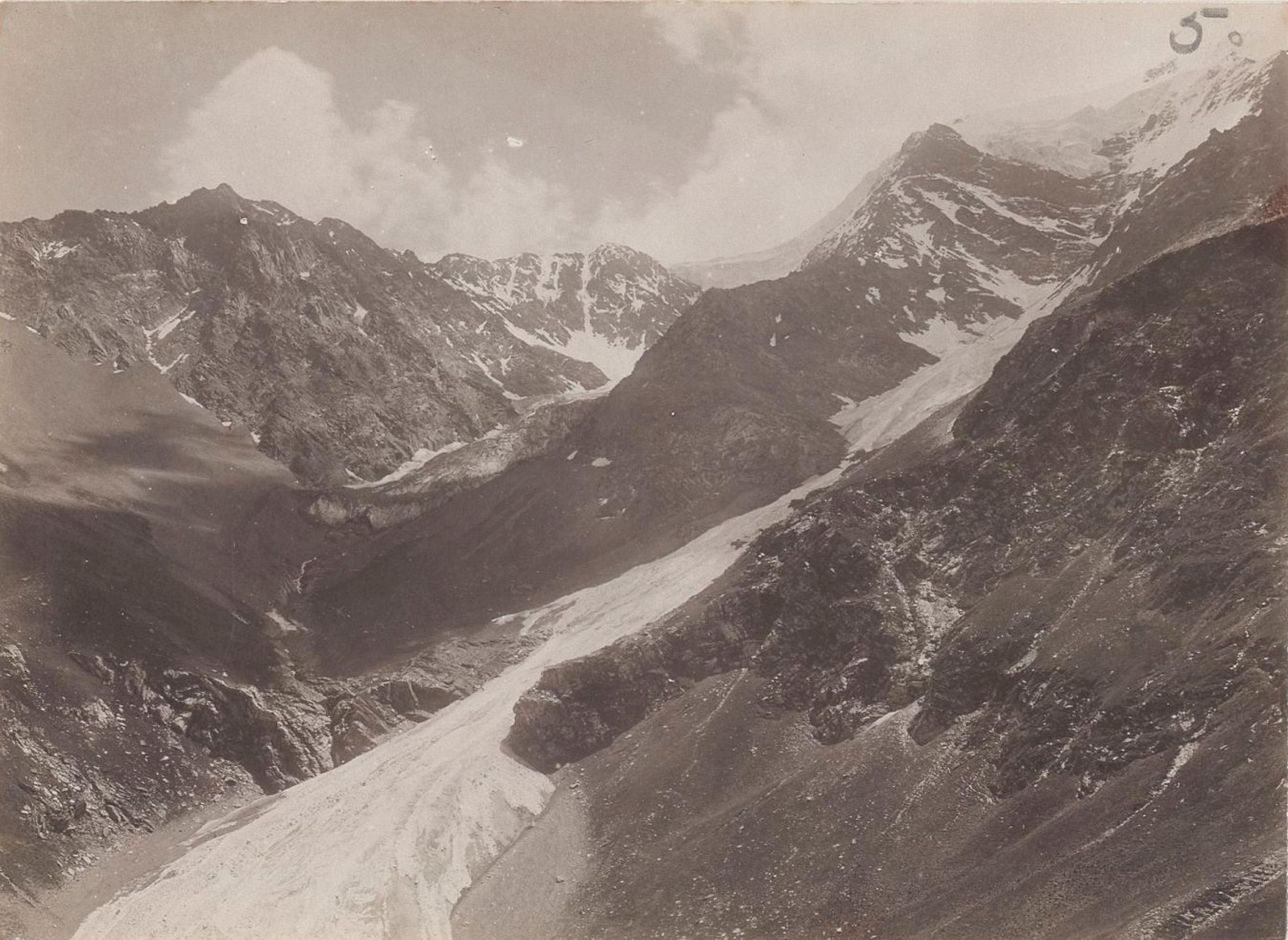 18. Восточный Кавказ. Вид на ледники Дыклос-мта в долине Харгабе-ахк. Июль