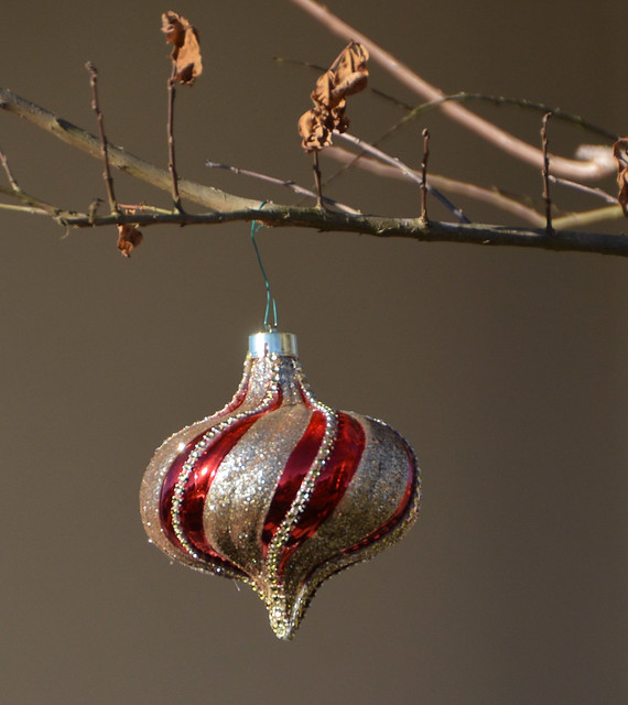 Red and silver Christmas ornament