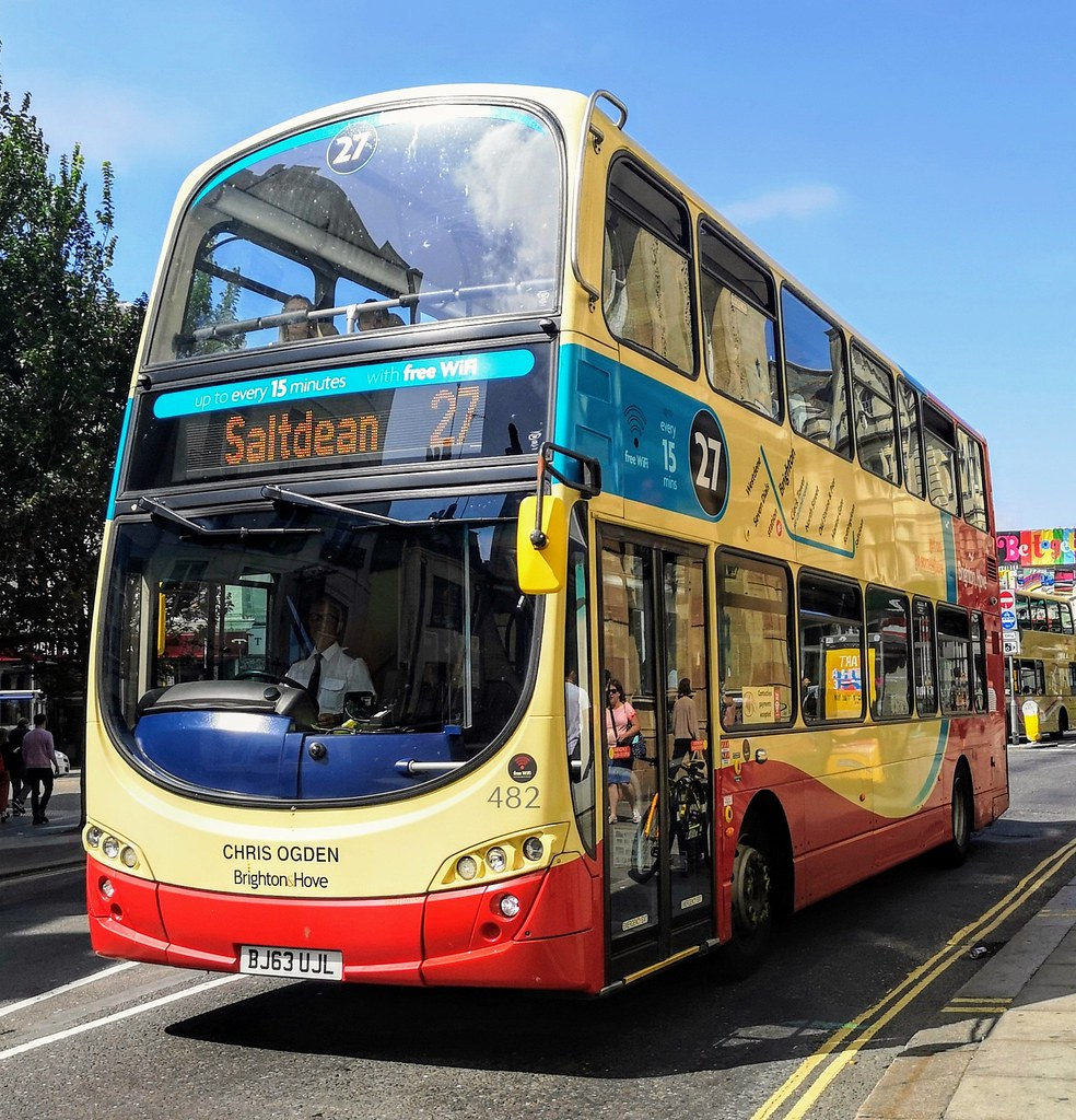Brighton & Hove 482 is on Castle Square while on route 27 to Saltdean. - Chris Ogden - BJ63 UJL - 21st August 2019