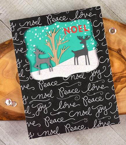 Jen Carter Love Doves Poinsettia Paper Snow Globe Nested Labels