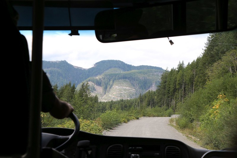 View from the West Coast Trail Express bus; lots of logging going on in the backwoods of Vancouver Island