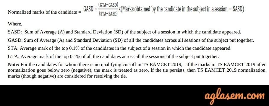 TS EAMCET 2020 Normaliztion Formula