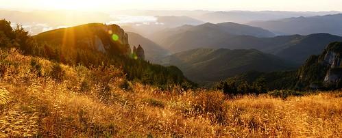 landscape mountains layers sunrise flare