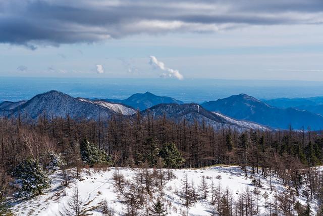 手前に鷹ノ巣山・日蔭名栗山・高丸山、背後に大岳山と御前山