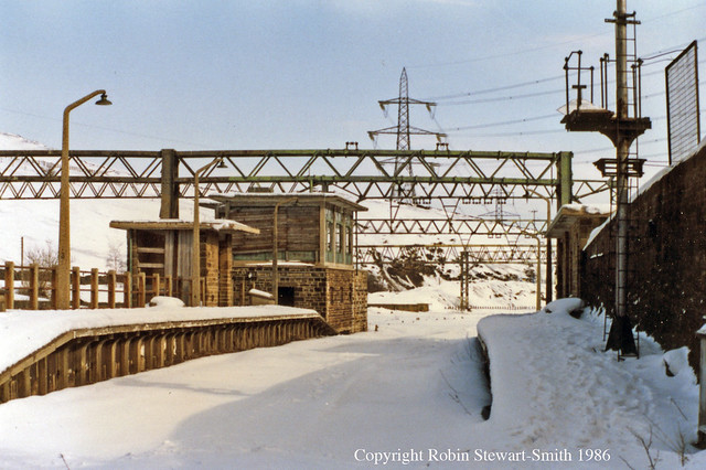 LNER/BR Dunford Bridge Station & Signal Box in Snow View East on 22nd February 1986
