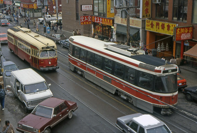 Vintage photo of Toronto streetcars, both PCC and CLRVs (Canadian Light Rail Vehicles)
