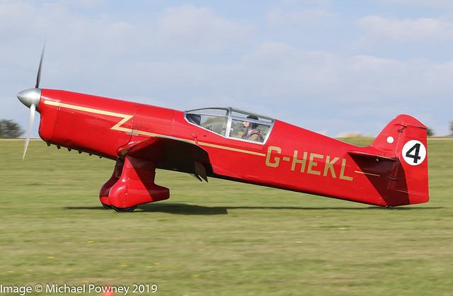 G-HEKL - 2013 build replica Percival Mew Gull, arriving on Runway 21L at Sywell during the 2019 LAA Rally