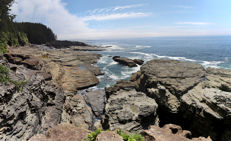 Panorama view from the lookout spot above Sea Lion Rock on the West Coast Trail - we had lunch here