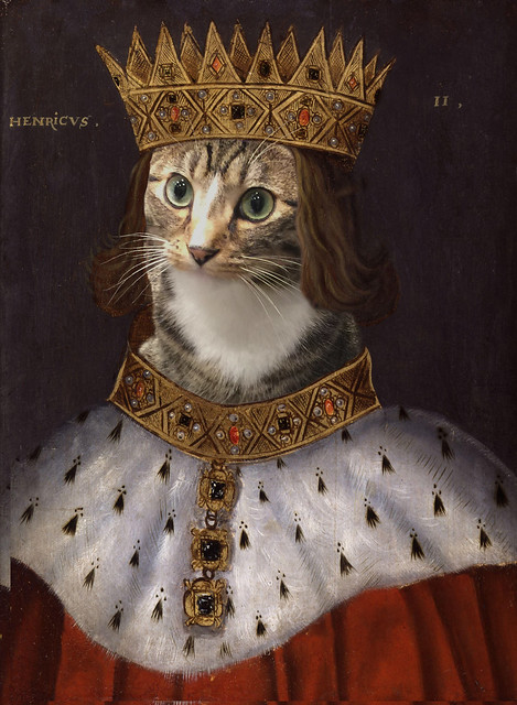 Painting of a king with a golden crown, a golden necklace and a red robe, except the king's face is replaced by that of a tabby cat.