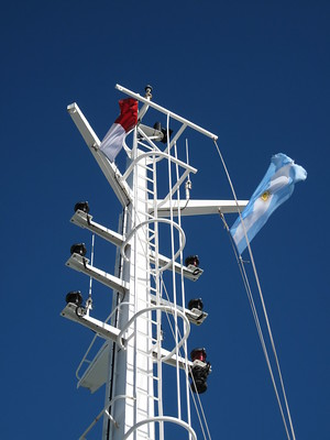 Beagle Channel Pilot on board and Argentinian Flags Flying