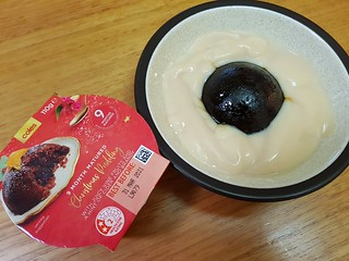Coles Christmas pudding with Alpro custard