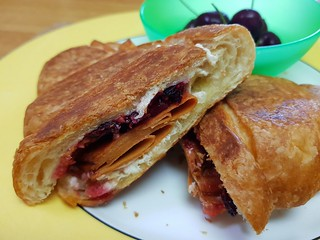 Ham, cheese, and cranberry sauce croissant