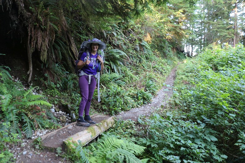 We're hiking in the rain forest on the West Coast Trail just south of Pachena Bay