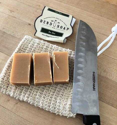 goat milk soap and natural loofah