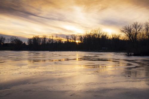 grandrapids michigan reedslake lake sunset ice frozen dusk reflections