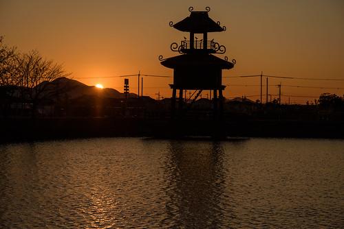 磯城郡 奈良県 日本 夕景 sunset 建築物 architecture 二上山 山 mountain