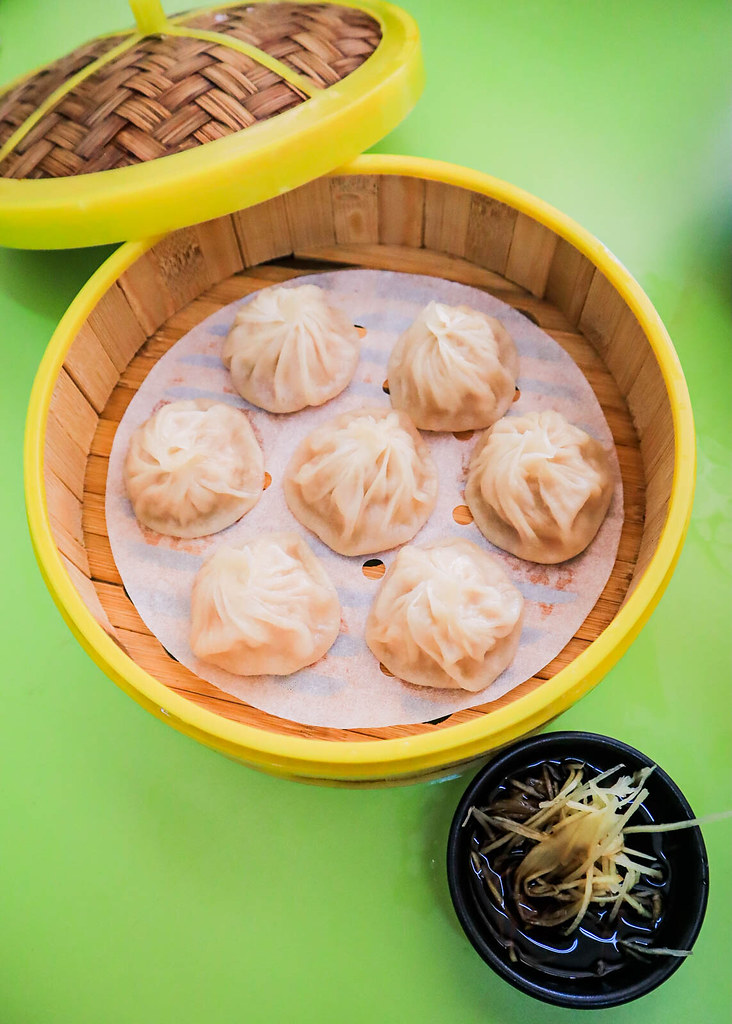 A basket of seven xiao long bao from Flourful Delight