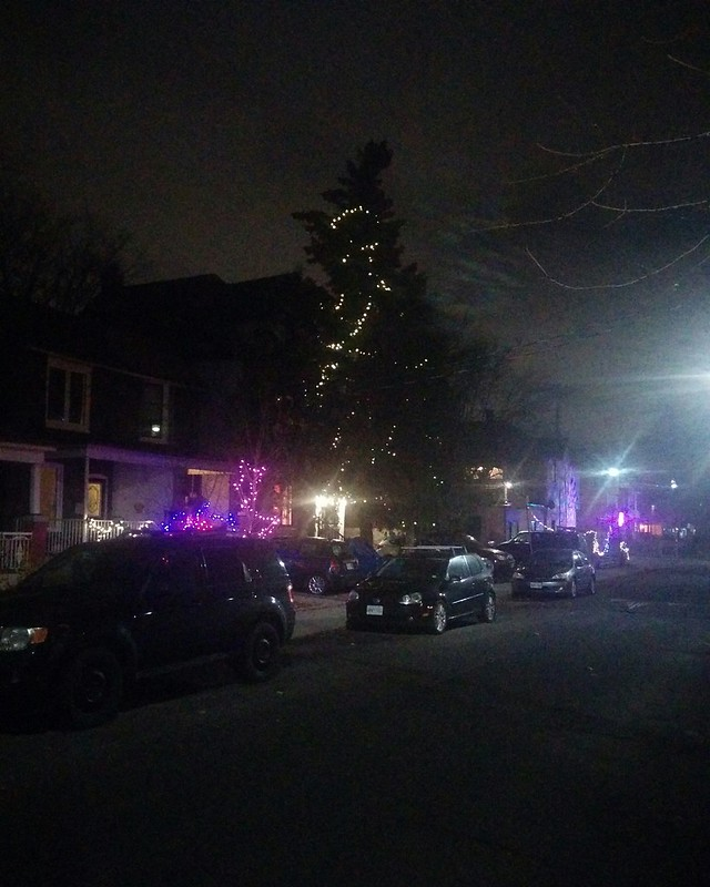 Down Bartlett #toronto #dovercourtvillage #bartlettavenue #night #christmas #christmaslights #blue #white #tree #latergram