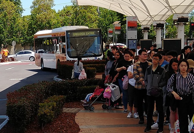 Queue for 900 bus, and Oakleigh extra bus, Chadstone on Boxing Day