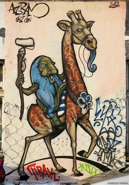 20170710_2 Graffiti of troll riding a giraffe, spotted in Ljubljana, Slovenia