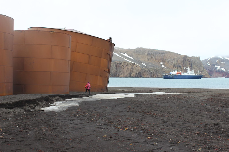 Deception Island - Whalers Bay - Ortelius at anchor