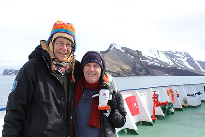 Dr Karl, Lockie & Me at Deception Island, Antarctica