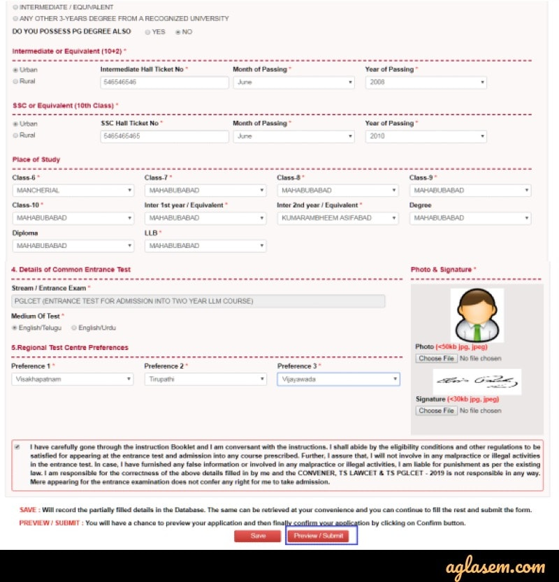 TS LAWCET 2020 Application Form Details