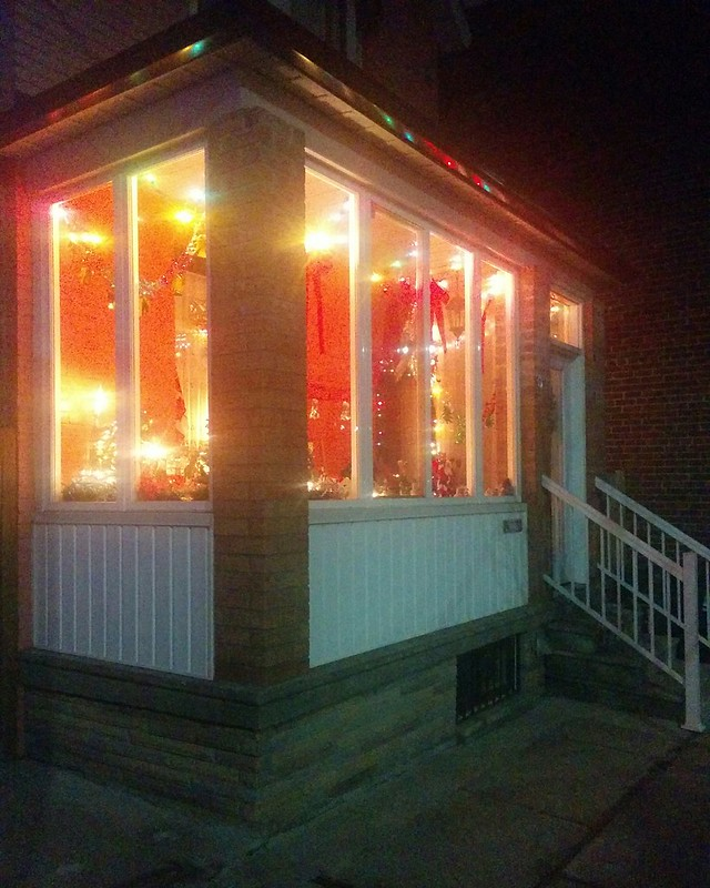 Inside #toronto #dovercourtvillage #dovercourtroad #night #christmas #christmaslights #patio #latergram