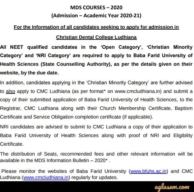 CMC Ludhiana MDS 2020 Admission through NEET