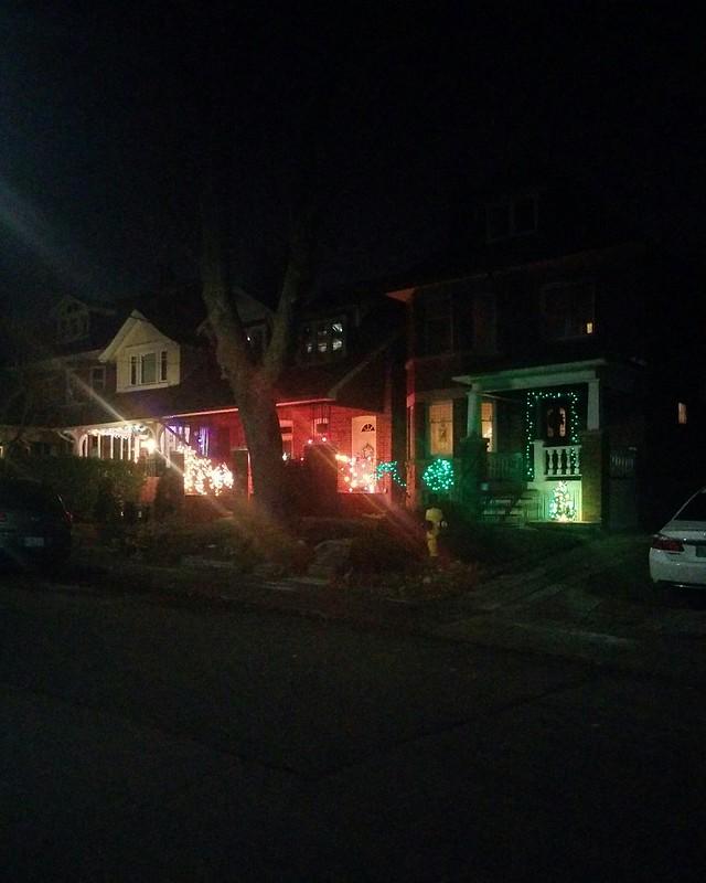 Three houses #toronto #highparknorth #mountviewave #lights #night #christmas #christmaslights #yellow #red #green #latergram
