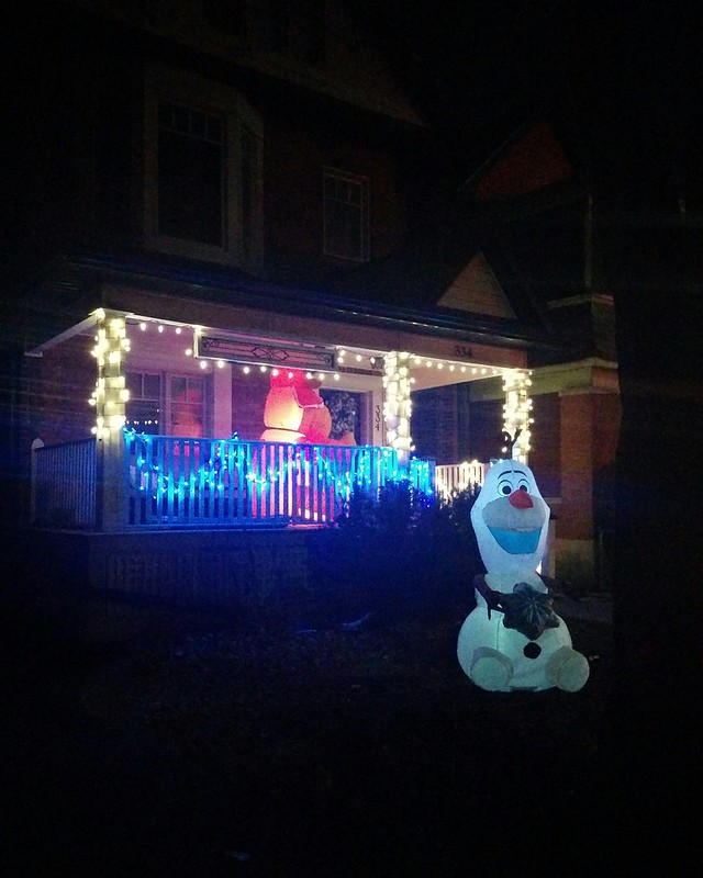 With Olaf #toronto #highparknorth #pacificave #lights #night #christmas #christmaslights #inflatable #olaf #olaffrozen #latergram
