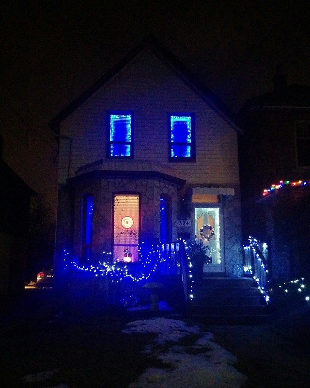 Blue over white #toronto #highparknorth #pacificave #night #christmas #christmaslights #lights #blue #white #latergram