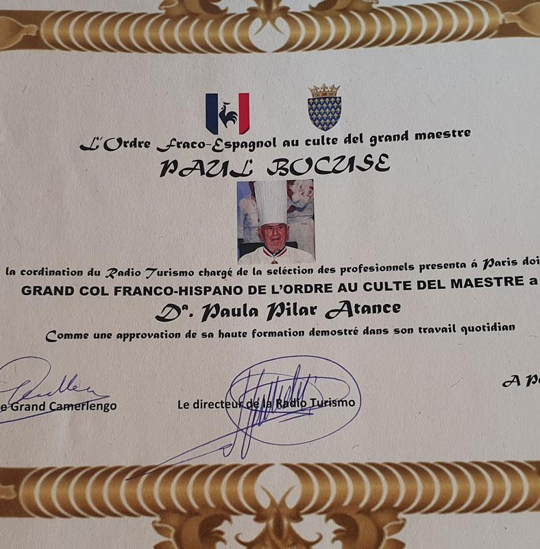 2019 – Grand col franco-hispano de l'ordre au culte del maestre Paul Bocuse.