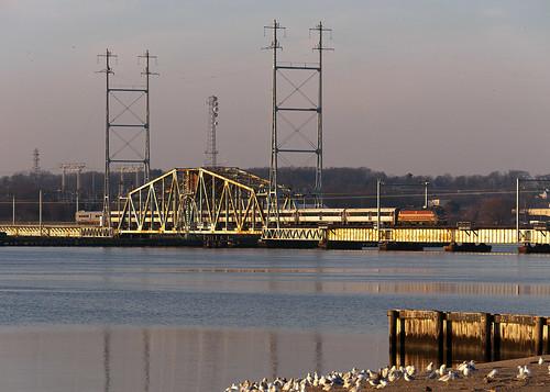 njt njtransit northjerseycoastline riverdraw raritanriver raritanriverbridge bombardier commuter alp46a train railfan railroad