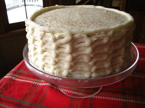 Egg Nog Spice Cake w/Bourbon Custard Cream