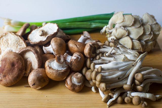 a mix of mushrooms