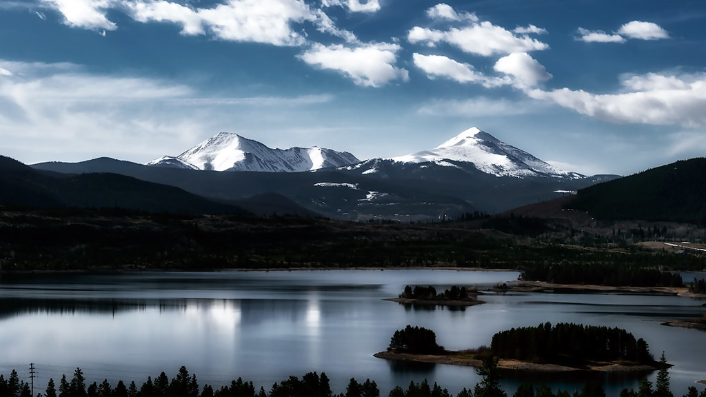 Sunrise: Independence Mountain and Keystone Mountain from Dillon Reservoir