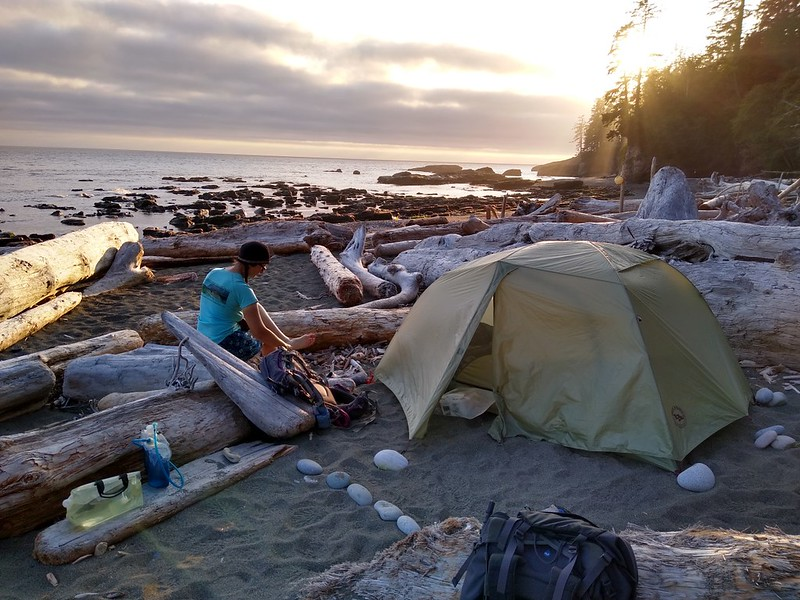 Our tent and campsite on the beach at Tsusiat Falls in the afternoon light