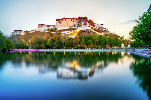 china xizangzizhiqu lasashi longexposure sunset red summer lake reflection tree paradise palace tibet hdr peaceful potala lasa