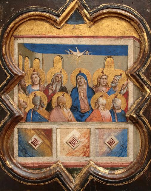 Taddeo Gaddi  (1290–1366) la Pentecoste (1335) - formella dell'armadio della sacrestia di Santa Croce a Firenze dimensioni 35 x 27 cm - Gemäldegalerie Berlino
