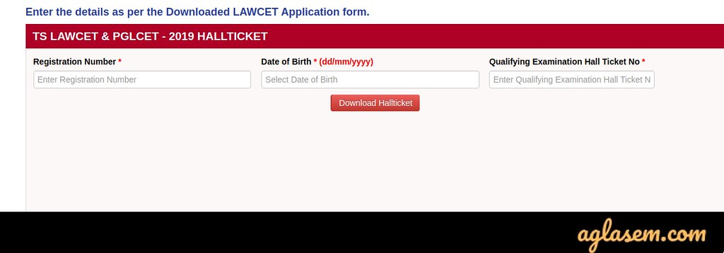 TS LAWCET 2020 Admit Card login