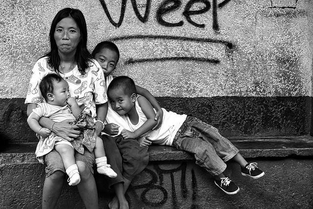 Family Waiting outside school.