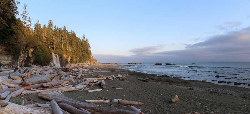 Panorama view south looking toward Tsusiat Falls and the Pacific Ocean at sunset