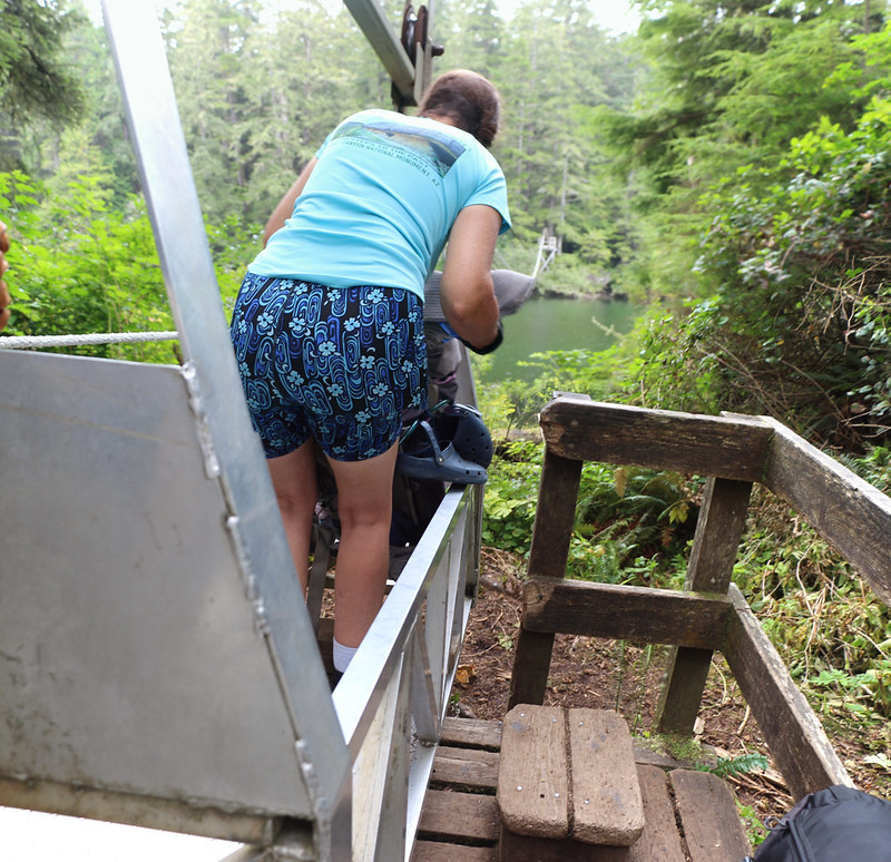 I held the Cable Car steady while Vicki loaded our two packs inside, then I jumped in, to cross the Klanawa River
