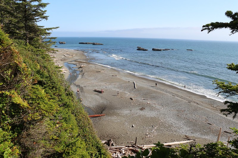 Looking down at the beach where the Tsusiat River heads into the ocean - we're nearing the campground now