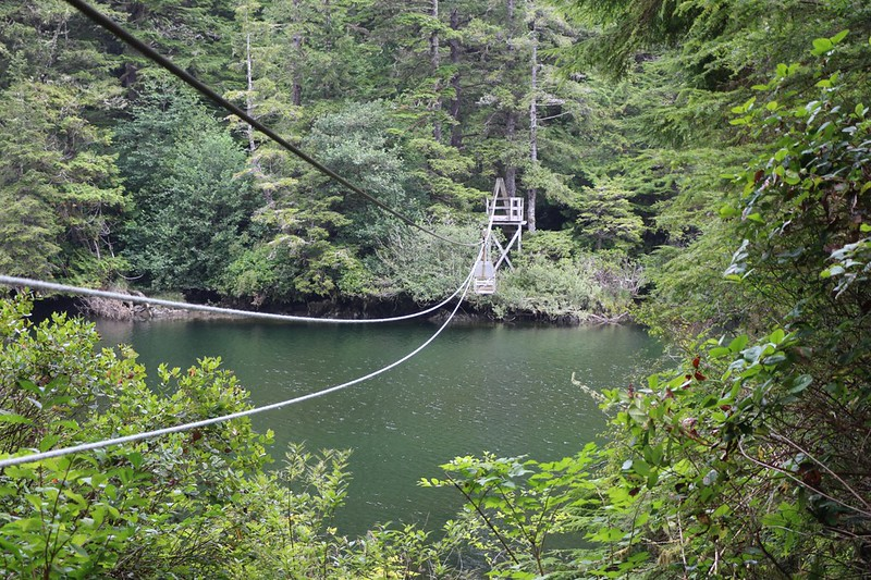 View of the 2-Person Cable Car over the Klanawa River