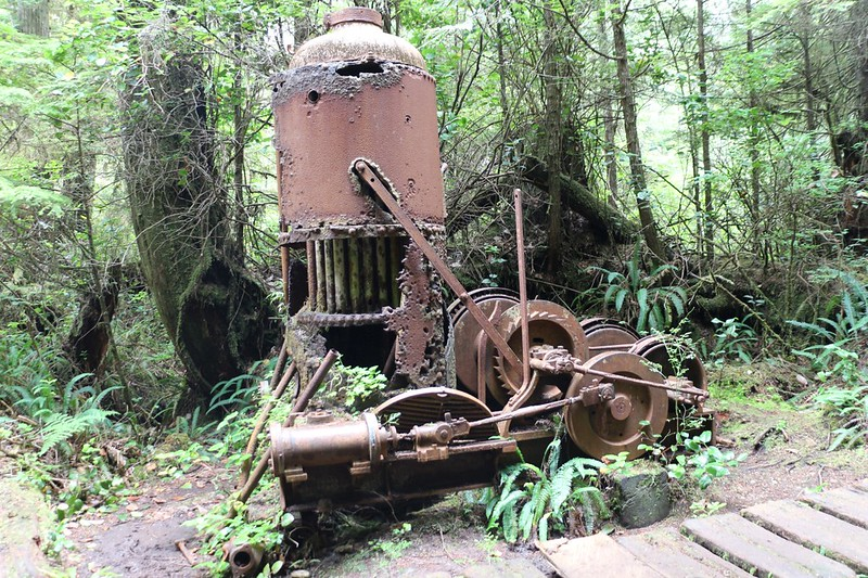 One of two rusted steam-powered Donkey Engines that can be found along the West Coast Trail
