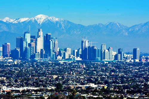 DTLA skyline and the San Gabriel Mountains.