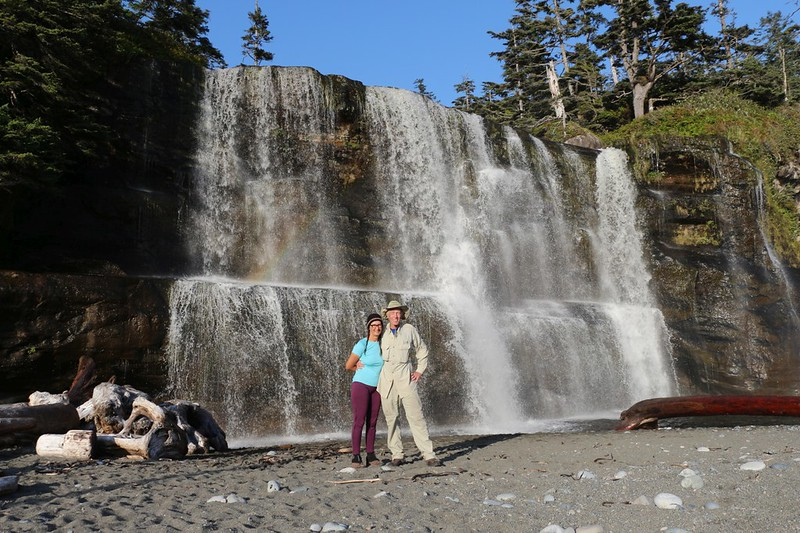 Posed shot of the two of us in front of Tsusiat Falls