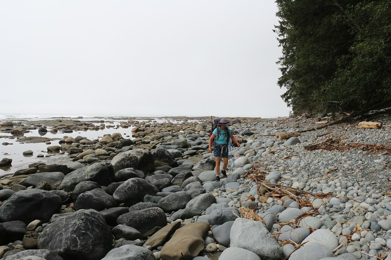 This beach full of rounded rocks was more difficult to hike - north of the Klanawa River